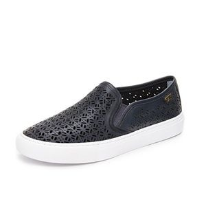 Tory Burch Blue Lennon Perforated Slip On Sneakers